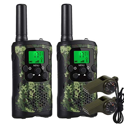 CAMMAY 2X Kinder Walkie Talkie, 8 Kanäle Funkgeräte mit VOX wiederaufladbare Akkus Taschenlampe, Rufreichweite bis zu 3 km, Spielzeug Spy-Gear Geschenke für Kinder