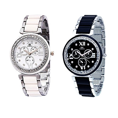 IIk Collection Watches Quartz Movement Analogue Multicolour Dial Women's Watch - IIK-1004W-1005W (Combo of 2)