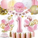 1. Geburtstag Mädchen Dekoration, Baby Mädchen erste Geburtstagsdekoration Geburtstag Ballon für Pink und Gold Party Supplies Dekoration 1. Geburtstag