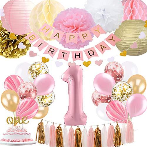 1. Geburtstag Mädchen Dekoration, Baby Mädchen erste Geburtstagsdekoration Geburtstag Ballon für Pink und Gold Party Supplies Dekoration 1. Geburtstag (Ersten Geburtstag Dekoration)