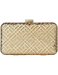 Paradox Womens Metal Case Wedding Party Evening Hand Box Clutch Bag (Black) (Gold)