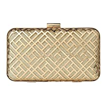 c489b3a0b3a2d Paradox Womens Metal Case Wedding Party Evening Hand Box Clutch Bag (Black)  (Gold