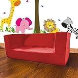 Kinder Bequemer Schaumstoff 2 Sitzer Mini Sofa. Weich, Bunt, Bequem & Leicht Mit Abnehmbarer Hülle. Ideal Für Kinderzimmer, Wohnzimmer Oder Spielzimmer - Rot