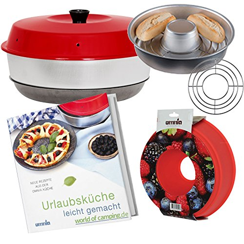 Omnia Camping Backofen Spar-Set | Backofen + Silikon-Backform + Kochbuch (neue Auflage) + Aufbackgitter