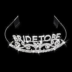 """Idea Regalo - Veewon Diadema scintillante con strass, con scritta """"Bride to be"""", con fascia provvista di pettine, perfetta per festa di addio al nubilato"""