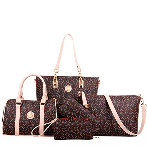 fanhappygo Fashion Retro Leder Frauen Geldbörsen Handtaschen Damen Crossbody Tasche Messenger Bag Tasche Tote 5 sets braun