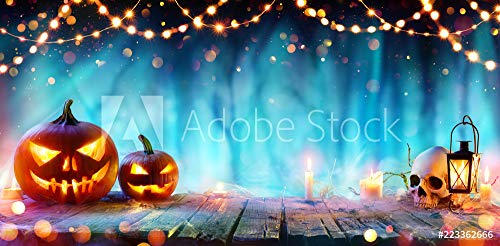 druck-shop24 Wunschmotiv: Halloween Party - Jack O' Lanterns and String Lights On Table In Misty Forest #223362666 - Bild auf Forex-Platte - 3:2-60 x 40 cm / 40 x 60 cm (Jack O Lantern Lights)