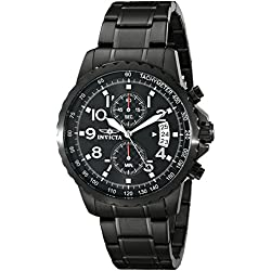 Invicta Men's Specialty Quartz Watch with Black Dial Chronograph Display and Black Stainless Steel Bracelet 13787