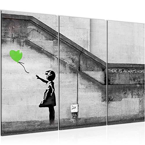 Bilder Banksy - Ballon Girl Street Art Wandbild 120 x 80 cm Vlies - Leinwand Bild XXL Format Wandbilder Wohnzimmer Wohnung Deko Kunstdrucke Grün Grau 3 Teilig - MADE IN GERMANY - Fertig zum Aufhängen 301631b
