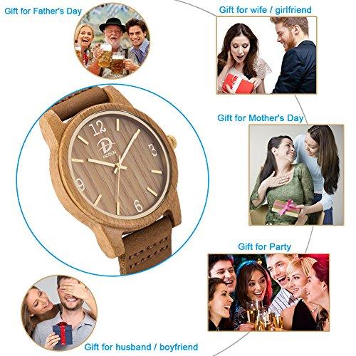 40mm Holz Armbanduhr für Herren und Damen, echtes Leder-Bügel Band Business Casual Armbanduhren, Japanisches Miyota Quarzwerk Bewegung Vintage Natürliche Holz Uhren (Bambus) - 3