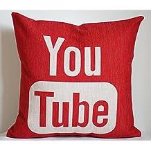 Federa per cuscino 45,7x 45,7cm Pillow case, Youtube, simple social media logo YouTube throw Pillow case Pillow Joutletshop