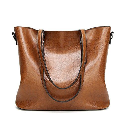 Mefly Sacco Sacco Bag Moda Donna Semplice Sacchetto Dell'Olio Verde brown