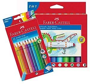 Faber-Castell 10051187b lápices de Colores Jumbo Grip 12Estuche de cartón y Sellos Estuche 10lápices