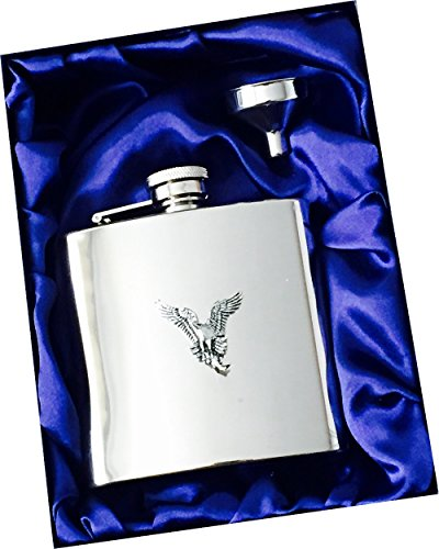 6oz-stainless-steel-hip-flask-with-antique-pewter-osprey-bird-of-prey-bird-emblem-complete-with-gift