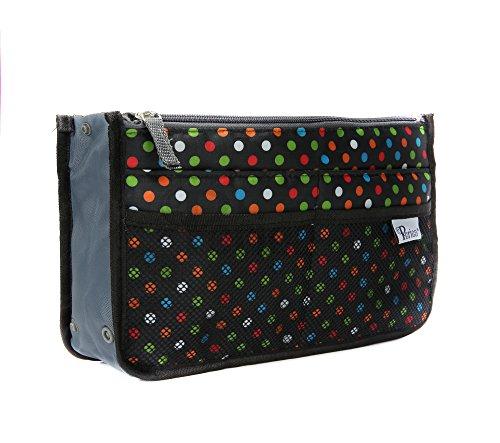 Periea - Organiseur de sac à main, 12 Compartiments - Chelsy (20 Couleurs) (Petit: H15 x L22 x P2-10cm, Noir à pois multicolores)