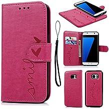 Funda para Samsung Galaxy S7 Edge, Carcasa Libro de Cuero Impresión de Amor PU Premium y TPU Funda Interna (2 en 1, Separable), Flip Wallet Case Cover para Samsung Galaxy S7 Edge con Soporte Plegable, Ranuras para Tarjetas y Billetes -Rosa rojo