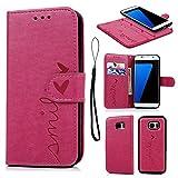 Geniric Handyhülle für Samsung Galaxy S7 Edge Leder Flip Wallet Cover Stand Case Card Slot Tasche Karteneinschub TPU 2 in 1 Combo Karteneinschub Magnetverschluß Kratzfestes (Rose Red kleine Liebe)
