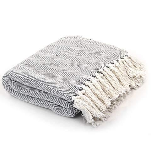 vidaXL Überwurf Baumwolle Fischgrätmuster 160x210cm Grau Tagesdecke Decke