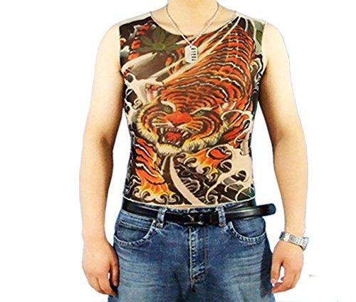 Pinkyee Herren Rot Ton Lotus und Monster Print Tattoo Tank Mehrfarbig - C14