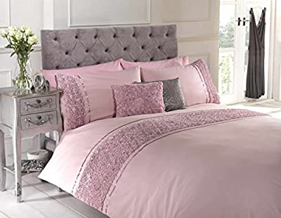 Pink Single Duvet Quilt Cover Bed Set Bedding Raised Rose & Ribbon Polycotton - low-cost UK light shop.