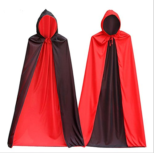 tsacte Halloween Tuch Mantel Vampir Death Umhang, Schal Erwachsene lang Bereich des zu wischen das Wort Masquerade Halloween Party auf die Männer und Frauen der Cape schwarz / rot