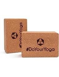 2x Brique de yoga en liège »Kinnari« / Brique de yoga 100% liège naturel, idéal pour aider à réaliser certains exercices de yoga, lot de 2 / Dimensions : 23 x 15 x 7,5cm