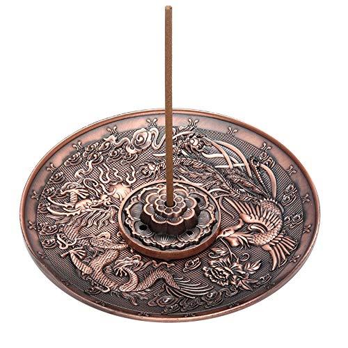 GFEU Räucherstäbchenhalter, Vintage chinesischer Drache Phoenix Zenser Tellerständer mit Aschefang Red Copper (Vintage Tellerständer)