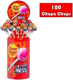Chupa Chups Caramelo con Palo de Sabores Variados - Tubo Icon Pack de 100 unidades de