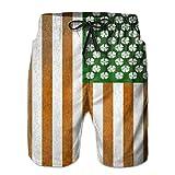 guolinadeou Irish American Flag Shamrock Men's Swim Trunks Printed Quick Dry Board Shorts Large