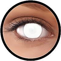 """FXEYEZ Farbige Kontaktlinsen weiß""""Dead Zombie"""" 60% Sicht + Linsenbehälter, weich, ohne Stärke als 2er Pack - angenehm zu tragen und perfekt zu Halloween, ohne Pupille, ganzes Auge"""