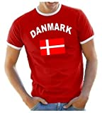 Coole-Fun-T-Shirts Herren T-Shirt Dänemark Ringer, rot, L, 10835_Dänemark_HERI_GR.L