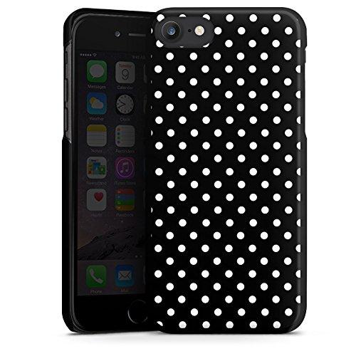 Apple iPhone 7 Silikon Hülle Case Schutzhülle Punkte Schwarz-Weiß Retro Hard Case schwarz