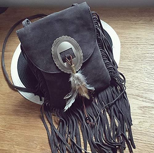 Klassische Flap Clutch (Romantic-Z 2016 Frauen schwarz quaste Tasche Klassische Flap Bag pu Leder kleine Schulter Crossbody Taschen für Frauen Sude Leder Clutch Handtasche, grau)