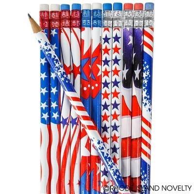 1GROSS (144) USA patriotische Bleistifte Verschiedene Design-4. Juli Parade oder kleine Geschenke-US Flagge
