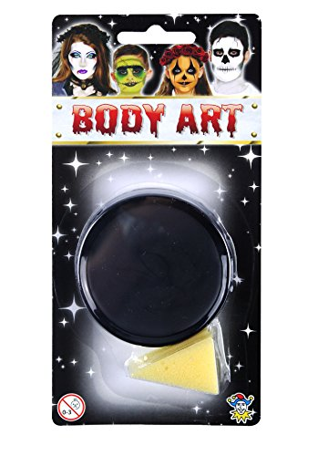 Halloween Face Paint and Body Art Compact with Sponge Fancy Dress Accessory-Black (Für Black Body-paint Halloween)