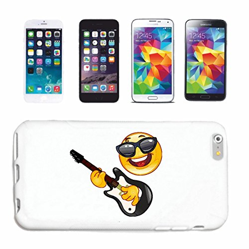Handyhülle iPhone 6S COOLER SMILEY MIT SONNENBRILLE BEIM GITARRE SPIELEN SMILEYS SMILIES ANDROID IPHONE EMOTICONS IOS GRINSE GESICHT EMOTICON APP Hardcase Schutzhülle Handycover Smart Cover für Apple