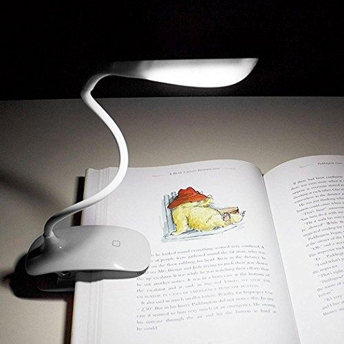 LED Augenschutz Leselampe, Dimmbar Touchsensor mit 3-Stufe Helligkeit, Wiederaufladbar mit USB Kabel