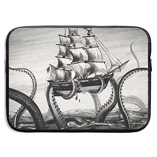 Laptop-Tasche Handtasche Computer-Notizbuch Tablet Briefcase Carrying Bag Waterproof Laptop Sleeve Pocket MacBook Air Pro Case Sail Boat Waves and Octopus Cover for All Computer Notebook 13 Inch bagp (Macbook Air Fälle Elefant)