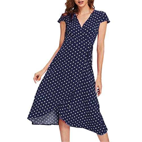 f51fcb1f93fd Trada Kleid Frauen Sommer Dot Printed Dress V-Ausschnitt Strickjacke  beiläufige Lose Strandkleid Elegant Ärmellose Kleid Retro Swing Kleid...