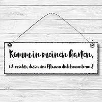Komm in meinen Garten - Dekoschild Türschild Wandschild aus Holz 10x30cm - Holzdeko Holzbild Deko Schild zur Dekoration Zuhause im Büro auch perfekt als Geschenk Mitbringsel zum Geburtstag Hochzeit Weihnachten für Familie Freundin Mutter Schwester Tochter