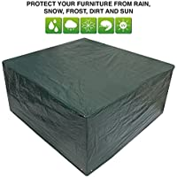 Green Medium Patio Set / Oval / Rectangle Table Cover Garden Outdoor Furniture Cover 2.1m x 1.93m x 0.97m / 6.8ft x 6.3ft x 3.2ft