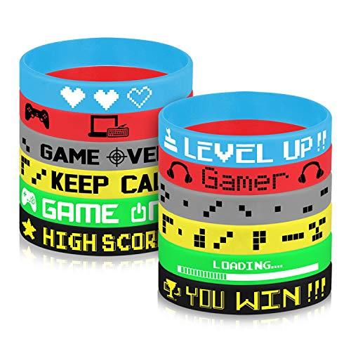 TUPARKA 36 Pcs Gaming Party Supplies Bracelet en Silicone, Le thème du Jeu vidéo Favors Bracelets,Fournitures Pour Fête d\'anniversaire Baby Shower Party Favors, 6 Styles