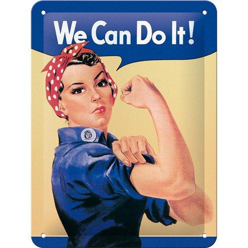 Nostalgic-Art 26120 USA - We can do it, Blechschild 15x20 cm (Girl Metall Schild)