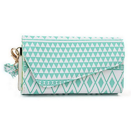 Kroo Pochette/étui style tribal urbain compatible HUAWEI Ascend P1 (U9200) Multicolore - Brun Multicolore - White with Mint Blue