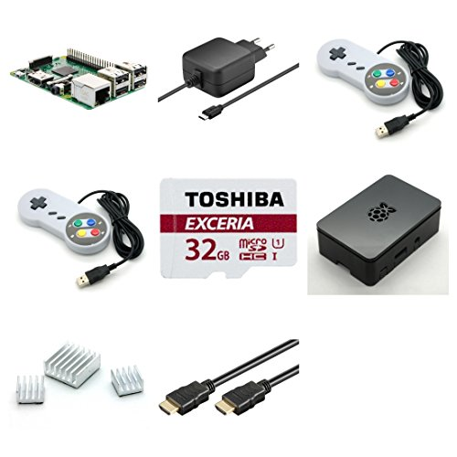 Raspberry Pi 3 Modell B - RetroPie Starterkit - Bestehend aus: Raspberry Pi 3, Micro USB Netzteil 5V / 2,5A, schwarzem Gehäuse, 2x USB 2.0 Controller im SNES Design grau, Toshiba 32GB Class 10 MicroSDHC Speicherkarte + Adapter, 2,0m HDMI Kabel und Kühlkörper-Set by avc-shop