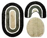 Badgarnitur 3 tlg. Set 80 x 50 cm schwarz grau weiß mit Glitzer, 2cm Flor, WC Vorleger mit Ausschnitt für Stand-WC
