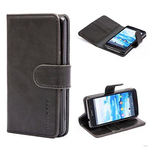 Mulbess (Vintage bookstyle) Premium Handy Schutzhülle Ledertasche im Kartenfach für Sony Xperia Z1 Compact (4,3 Zoll) Tasche Hülle Leder Etui Schale,Schwarz