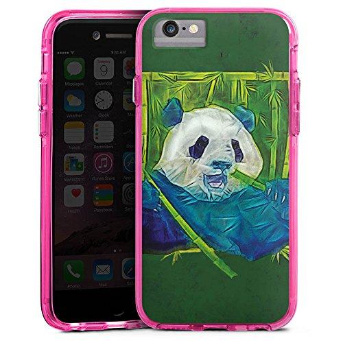Apple iPhone 6 Plus Bumper Hülle Bumper Case Glitzer Hülle Granda Panda Bear Baer Bumper Case transparent pink
