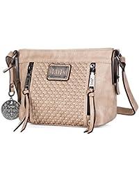 LOIS - 93344 Bolso de mujer bandolera ajustable. Dos bolsillos delante, uno detrás y uno interior con cremallera. Llavero. Piel sintética polipiel