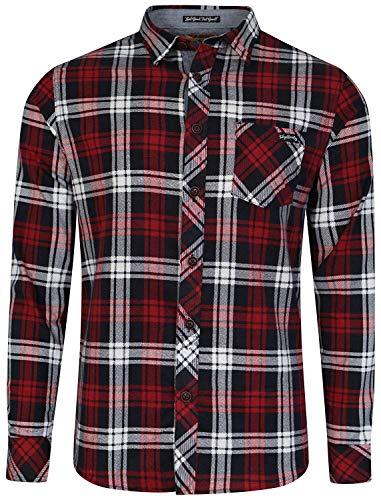 Tokyo Laundry - Camisa de Manga Larga a Cuadros para Hombre Rojo Rojo